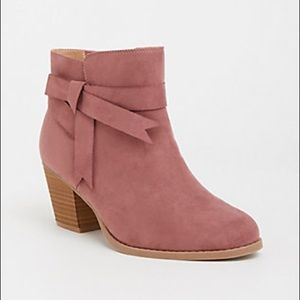 Torrid Mauve Faux Suede Stacked Bootie